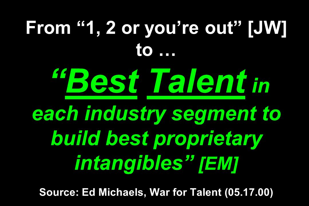From 1, 2 or you're out [JW] to … Best Talent in each industry segment to build best proprietary intangibles [EM] Source: Ed Michaels, War for Talent (05.17.00)